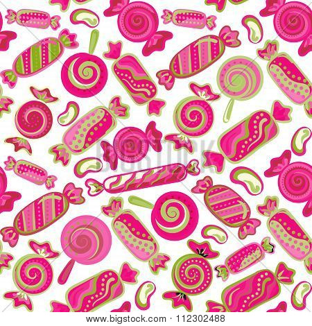Seamless pattern vector  background with lollipops and candies. Vector seamless background with colorful candies.