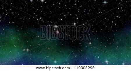 Panoramic looking into deep space. Dark night sky full of stars.