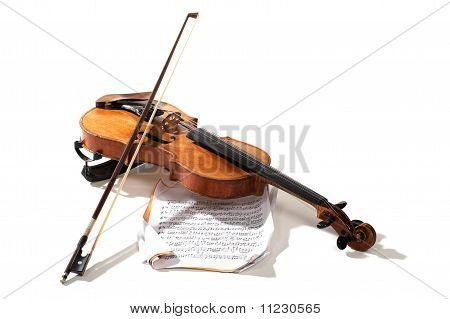Old Violin, Bow And Notes