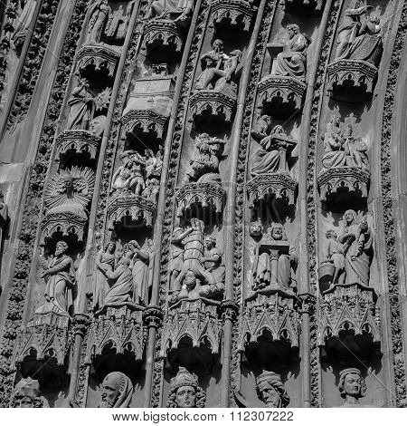 Figures From The West Fa?ade Of Strasbourg Cathedral, France