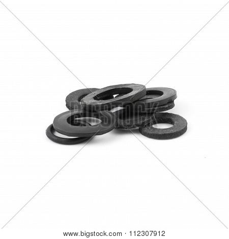 Assorted rubber O rings, isolated