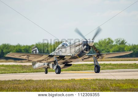 P-51 Throttling Up On Runway