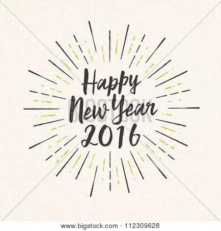 Handmade style greeting card - Happy New Year 2016 - Vector EPS10.