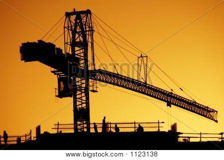 silhouette of a crane