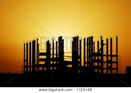 silhouette of metal structures
