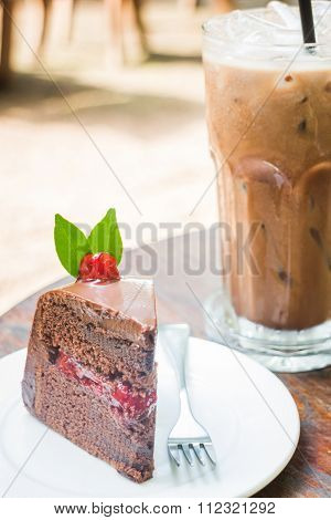 Iced Mocha And Black Forest Cake