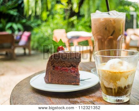 Coffee Drinks And Black Forest Cake