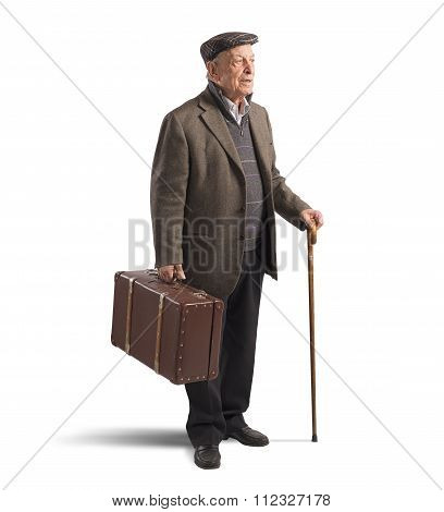 Old man with suitcase