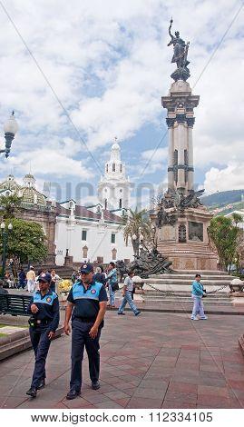 Quito, Ecuador - November 25, 2015: Independence Square In Quito