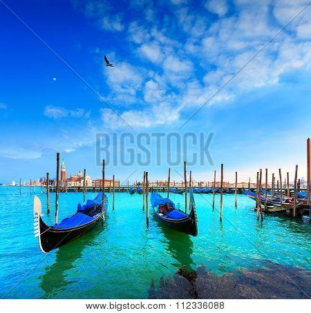 Venice, Gondolas, San Giorgio Maggiore. Italy.