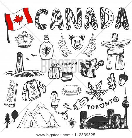 Sketch hand drawn collection of Canada symbols. Canadian culture set elements for design. Vector tra