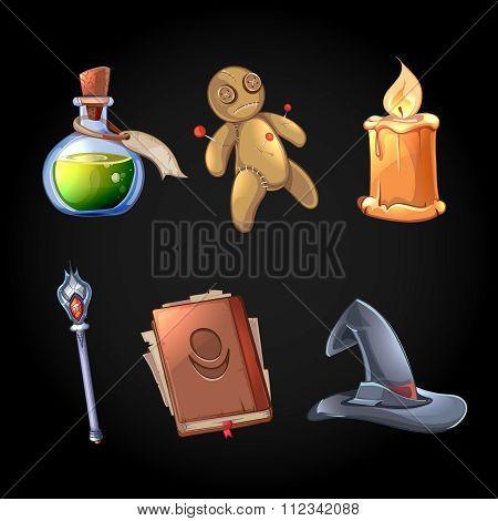 Fairy tale magic icons vector set in cartoon style