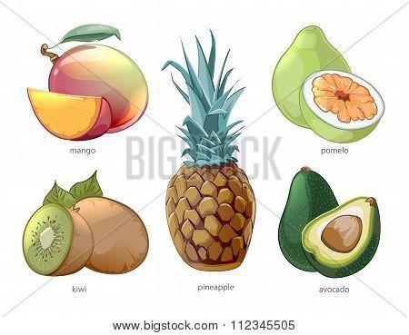 Cartoon exotic tropic fruits vector icons set