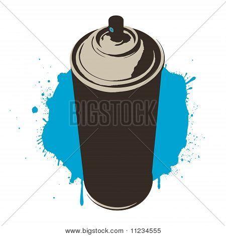 blue paint aerosol can