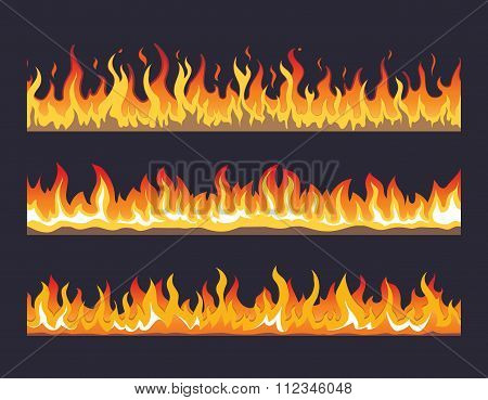 Fire flame vector seamless set