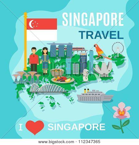 Singapore Travel National Symbols Poster