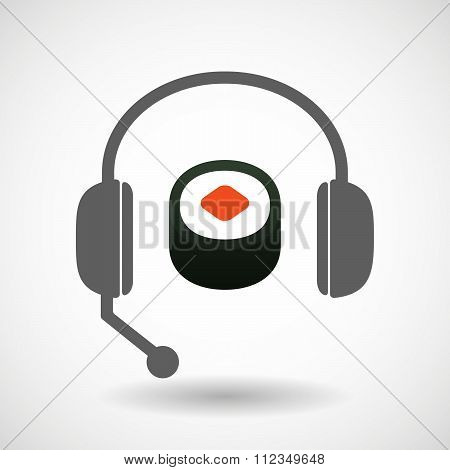 Remote Assistance Headset Icon With  A Piece Of Sushi Maki