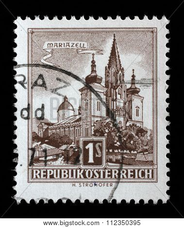 AUSTRIA - CIRCA 1957: A stamp printed in Austria shows image of the church in Austrian city Mariazell, series, circa 1957