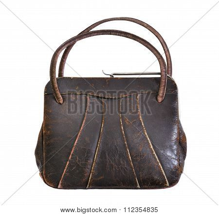 Vintage Brown Leather Handbag From The 1950's