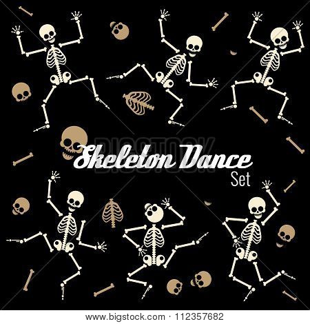 Dancing skeletons in different poses. Vector icons set