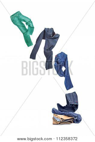 Flying Jeans Isolated On White Background