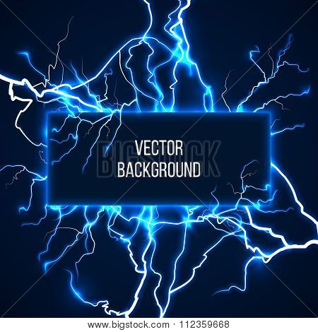 Vector banner with lightnings and discharge current. Electricit, voltage storm, weather nature illustration poster