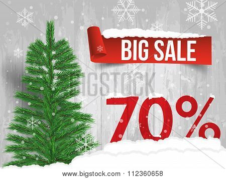 Winter Sale 70  Percent. Winter Sale Background With Red Ribbon Banner And Snow. Sale. Winter Sale.