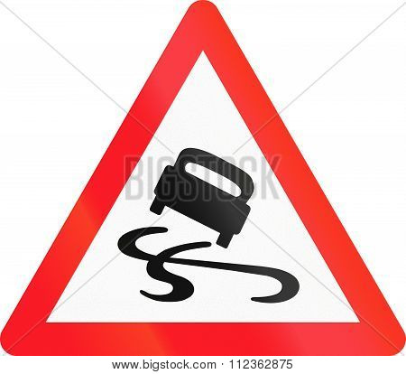 Warning Sign Used In Switzerland - Slippery Road