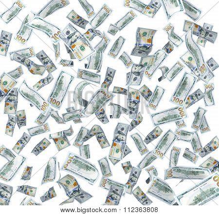 Flying In The Air Dollar Bills