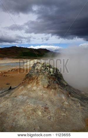 steaming vent volcanic activity namaskaro hveraond iceland poster