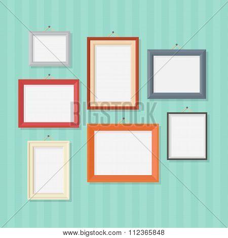 Photo frames vector flat illustration