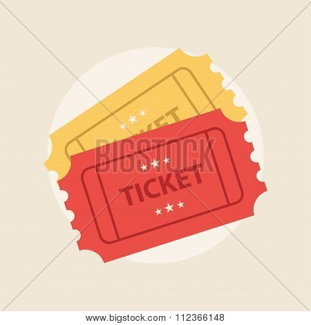 Ticket flat vector illustration