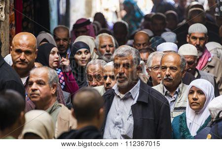 People Return From Friday Prayer At Al Aqsa Mosque. Old Jerusalem. Israel.