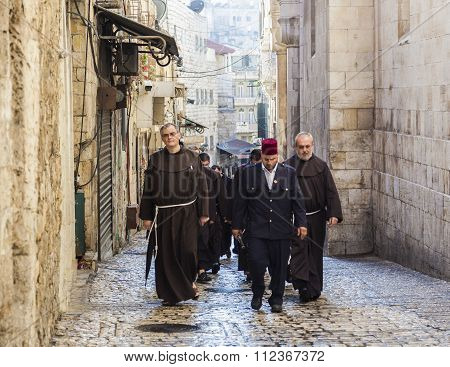 Franciscan Fathers On Friday Via Dolorosa Procession. Jerusalem. Israel.