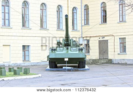Old Artillery Cannon Near The Building St. Michael's Military Artillery Academy In St. Petersburg