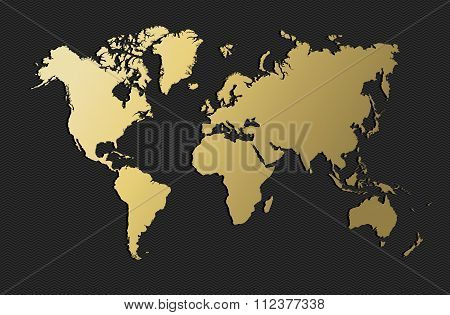 World Map Gold Earth Blank Empty Globe