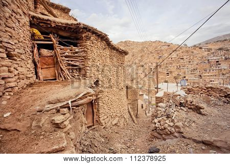 Rural Home In Stone Buildings Street Of Mountain Village Palangan, Iran