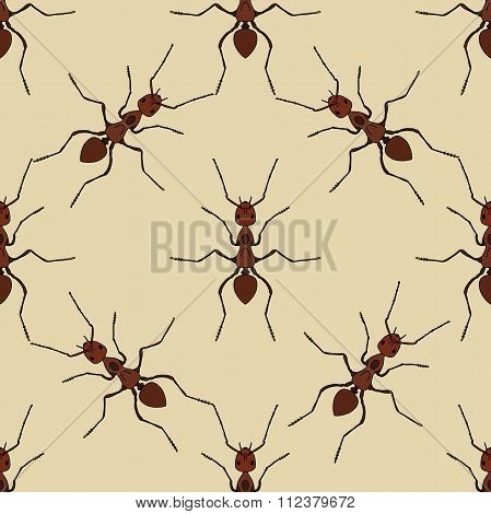 Seamless Pattern With Ant .formica Exsecta.   Hand-drawn Ant. Vector