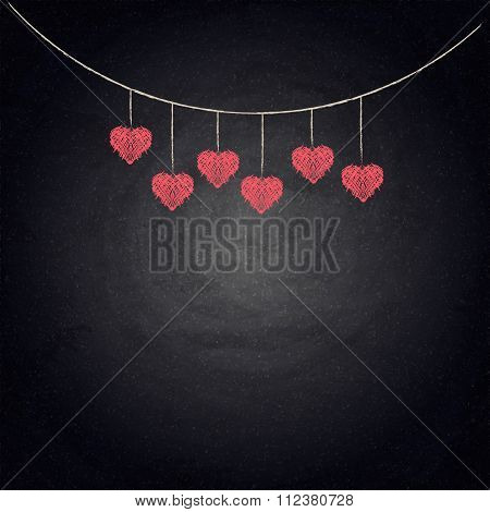 Drawing Bunting Hearts On Blackboard