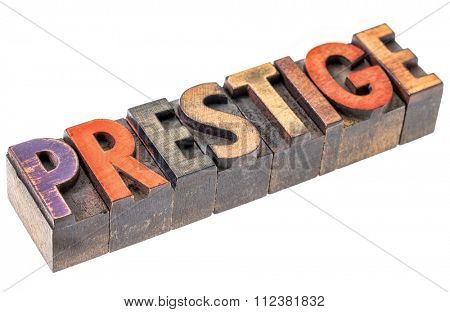 prestige word abstract - an isolated banner in vintage letterpress wood type blocks stained by color inks