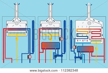 Gas Boilers Set. Condensing Boiler. Vector.