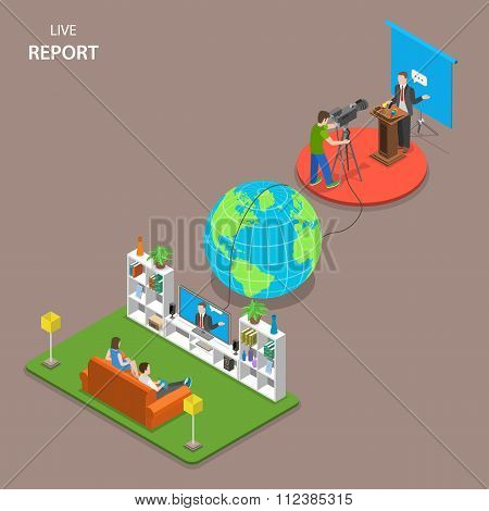Live report isometric flat vector concept.