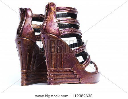 Handmade dark red sandals