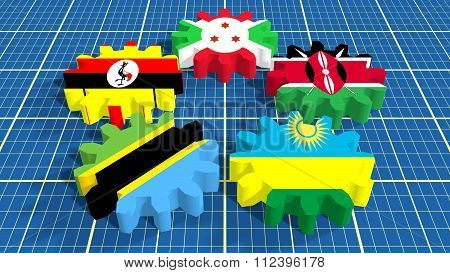East African Community members national flags