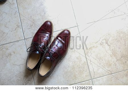Groom Dressy Elegant Shoes On The Floor