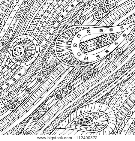 Doodle background in vector with ethnic pattern.
