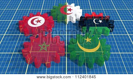 Arab Maghreb Union Members National Flags On Glass Gears