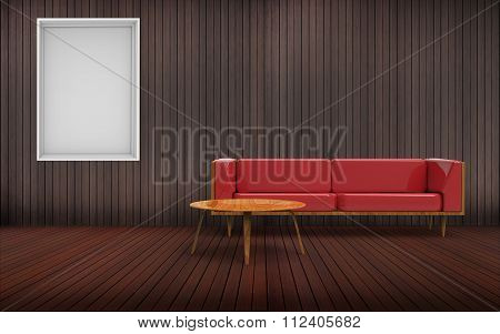 living room Minimal Red Sofa and picture frame