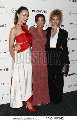 NEW YORK-OCT 11: (L-R) Actress Olivia Wilde, director Reed Morano and Juno Temple attend the premiere of 'Meadowland' at Sunshine Landmark on October 11, 2015 in New York City.