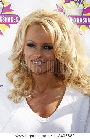 WEST HOLLYWOOD, CALIFORNIA - April 9, 2010. Pamela Anderson and PETA create the First ALL-VEGAN Shake held at the Millions of Milkshakes, West Hollywood.